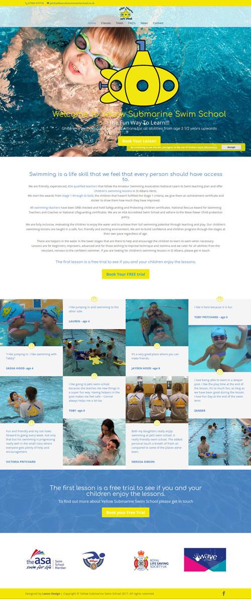 Yellow Submarine Swim School Home page
