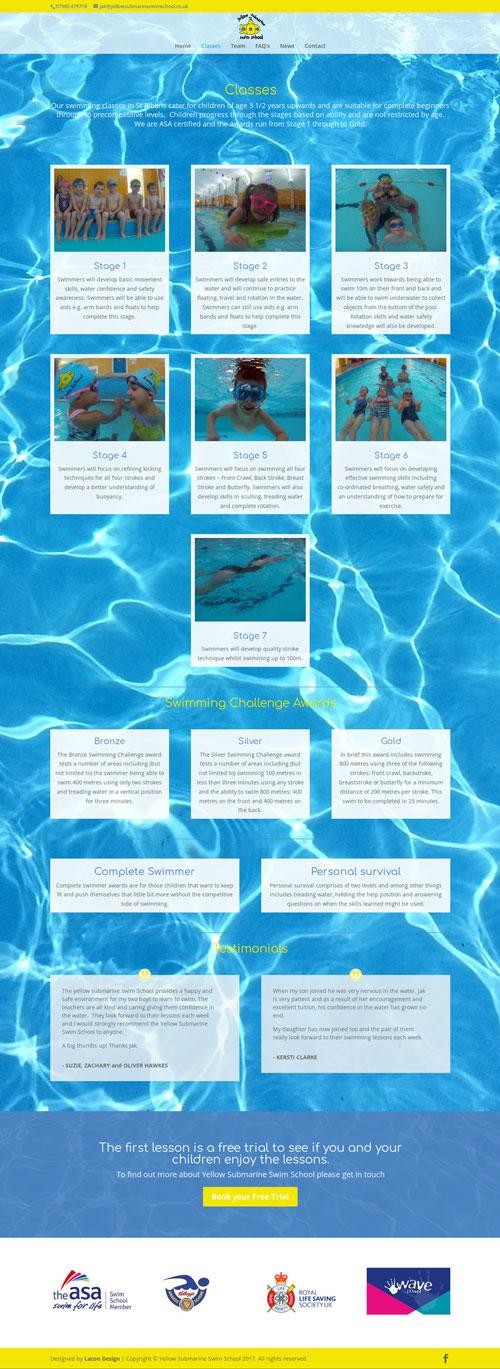 Yellow Submarine Swim School Classes page