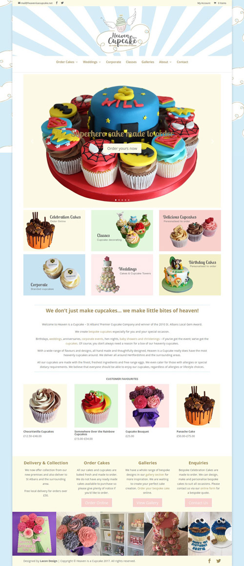 Heaven is a cupcake website home page