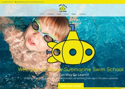 Website design for St Albans based Yellow Submarine Swim School