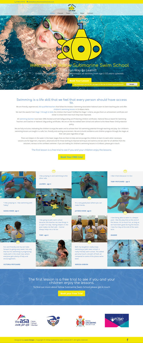 Yellow Submarine Swim School Home page