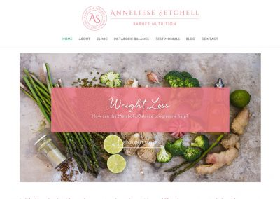 Website Design and build for Anneliese Setchell Barnes Nutrition