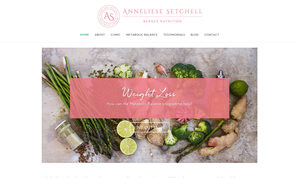 Anneliese Setchell Barnes Nutrition website design